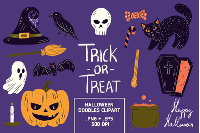 Halloween Doodles Clipart