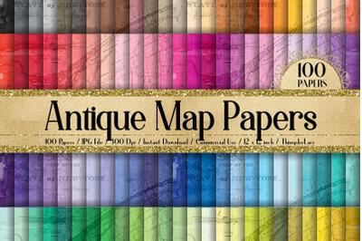100 Vintage Maps Ads Ephemera Old Texture Digital Papers