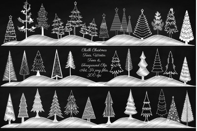 Chalk Christmas and Winter Trees Clip Art
