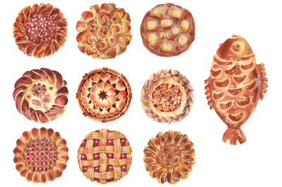 Bakery products Watercolor png