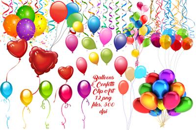 Balloons and Confetti Clip Art
