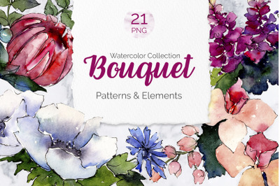 Bouquet of flowers Elegance watercolor png