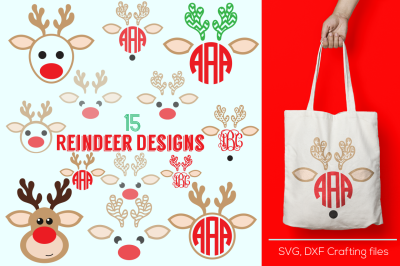 reindeer monogram frames svg, cricut reindeer svg,reindeer svg, christmas svg,Designs Svg cutting file, Cricut Design Space,Digital Cut Files