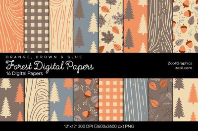 Forest Digital Papers  Orange, Brown & Blue