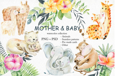 Mother and baby. Watercolor set.