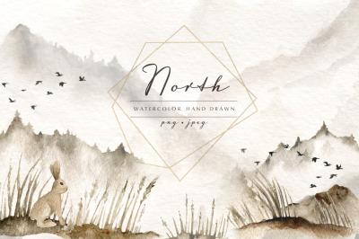 North. Watercolor hand drawn set