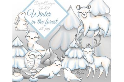Cute polar animals clipart