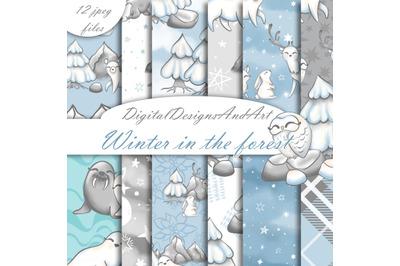 Winter animals patterns