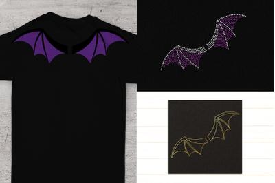 Bat Wing Trio Including Sketch & Rhinestone   SVG   PNG   DXF