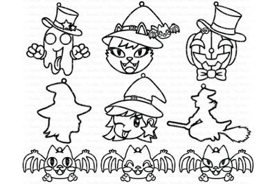 Cute Halloween  Earrings SVG, Pendant SVG, Pumpkin, Ghost, Cat, Witch,