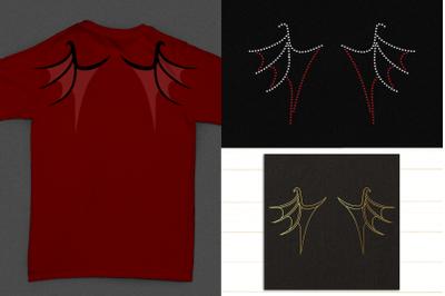 Dragon Wing Trio Including Sketch & Rhinestone   SVG   PNG   DXF