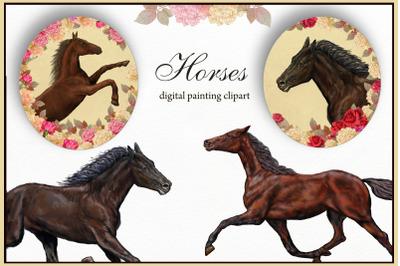 Horses illustration, Digital Clipart Farm Animals