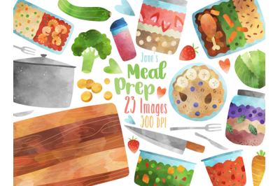 Watercolor Meal Prep Clipart
