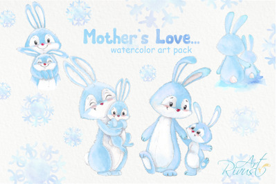 Watercolor Bunny and Mom PNG clipart. Bunny Mother Christmas