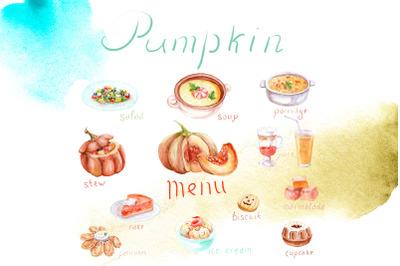Watercolor pumpkin dishes