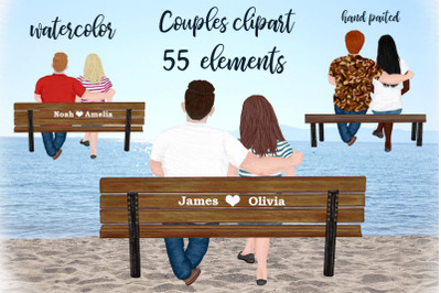 Couples Clipart, COUPLE ON BENCH, Custom Couples clipart