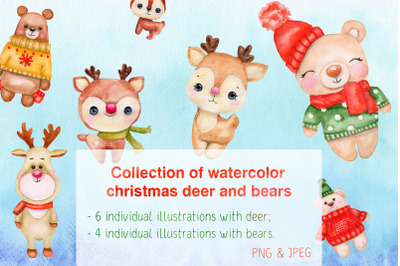 Collection of watercolor Christmas deer and bears.
