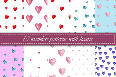 Valentine's Day watercolor patterns
