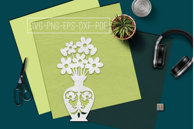 Flowers In Vase 1 Papercut Template, Spring Decor, SVG, PDF
