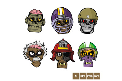Zombie Head Character Set 1