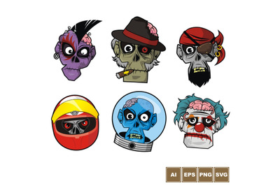 Zombie Head Character Set 2