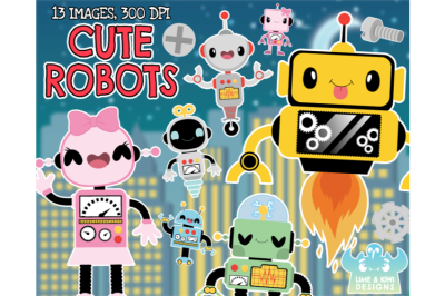 Cute Robots Clipart - Lime and Kiwi Designs