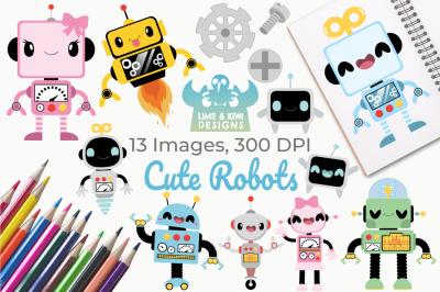 Cute Robot Clipart, Instant Download Vector Art