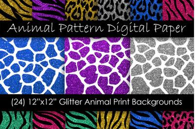Glitter Animal Print Digital Paper - Zebra, Leopard, Tiger and Giraffe