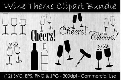 Wine Glass SVG Bundle - Wine  & Champagne Glass Clip Art