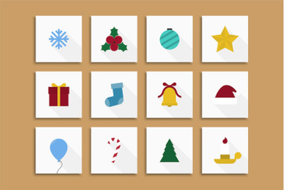 Christmas cards, xmas flat icons.