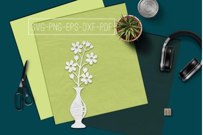 Flowers In Vase 2 Papercut Template, Spring Decor, SVG, PDF