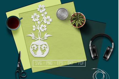 Flowers In Vase 3 Papercut Template, Spring Decor, SVG, PDF