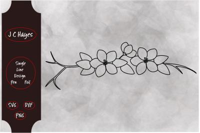 Apple Blossoms Single Line File&2C; Sketch Pen&2C; Foil