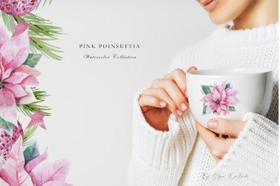 Pink Poinsettia Watercolor Bundle
