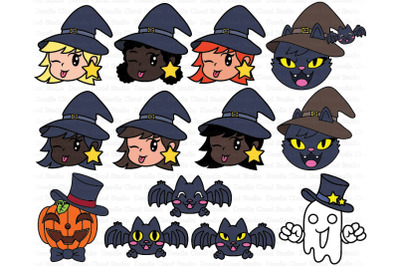 Cute Halloween Clipart SVG,  Pumpkin, Ghost, Cat, Witch, Bat..