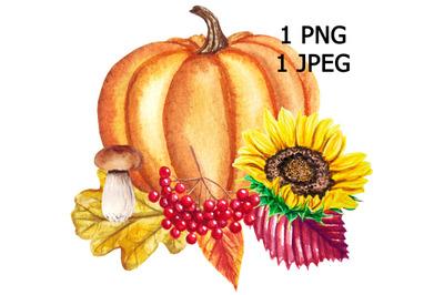Pumpkin watercolor card