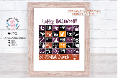 Halloween Printable Calendar
