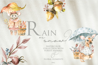 Rain or snow? Watercolor collection