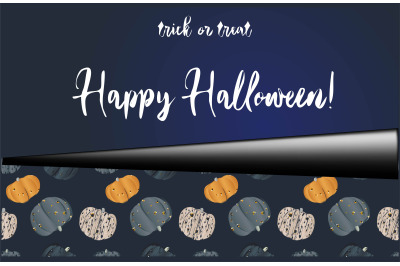 Halloween set of holiday card and seamless pattern with pumpkins