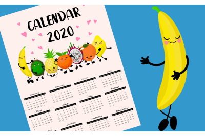 Fruit calendar 2020 for children