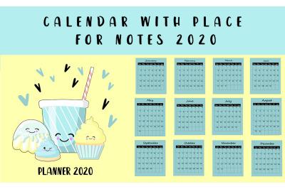 Calendar 2020 year. Cute kawaii sweets. For children.