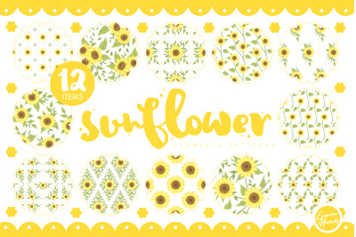 Handdrawrn Sunflower Seamless Patterns
