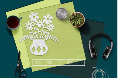 Flowers In Vase 4 Papercut Template, Spring Decor, SVG, PDF