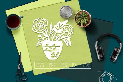 Flowers In Vase 5 Papercut Template, Spring Decor, SVG, PDF