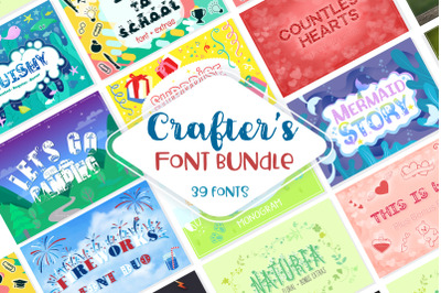 Sale! Crafter's Huge Font Bundle | 39 Fonts in 26 Families