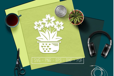 Flowers In Vase 6 Papercut Template, Spring Decor, SVG, PDF
