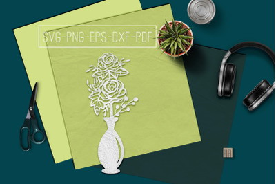 Roses In Vase Papercut Template, Spring Decor, SVG, PDF
