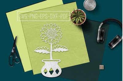 Sunflower In Vase Papercut Template, Spring Decor, SVG, PDF