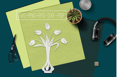 Tulips In Vase Papercut Template, Spring Decor, SVG, PDF
