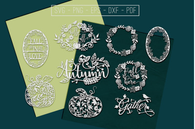 Autumn Papercut Templates Bundle, Fall Decoration, SVG, PDF